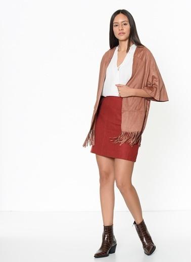 Vero Moda Vero Moda 520105347 Normal Kalıp Yarasa Kısa Kol Polyester Renk Kadın Bluz Taba